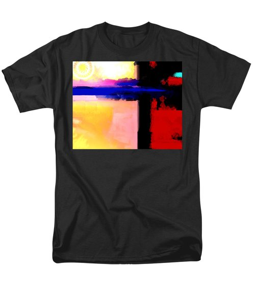 Men's T-Shirt  (Regular Fit) featuring the painting Abstract Impressions Of A Blue Horizon by Karon Melillo DeVega
