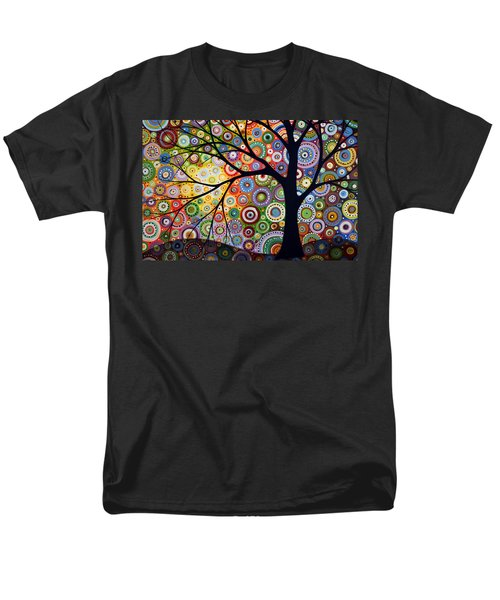 Men's T-Shirt  (Regular Fit) featuring the painting Abstract Original Modern Tree Landscape Visons Of Night By Amy Giacomelli by Amy Giacomelli
