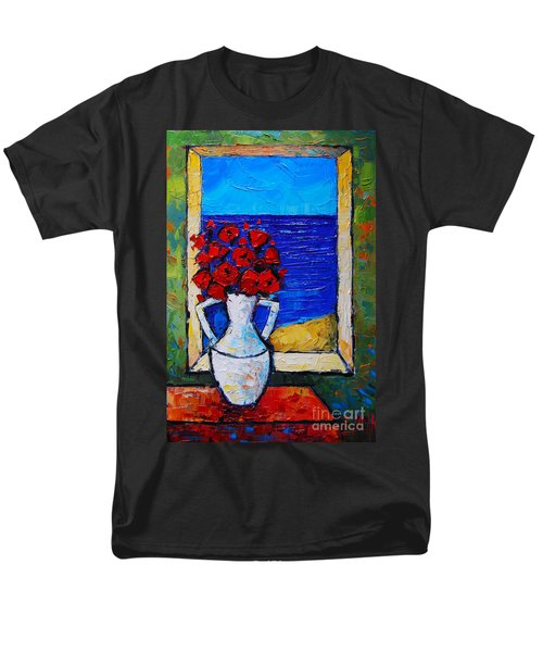 Abstract Poppies By The Sea Men's T-Shirt  (Regular Fit)