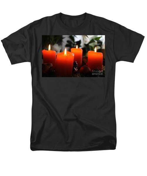 Men's T-Shirt  (Regular Fit) featuring the photograph Advent Candles Christmas Candle Light by Paul Fearn