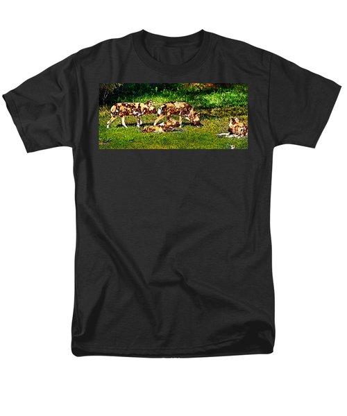African Wild Dog Family Men's T-Shirt  (Regular Fit) by Miroslava Jurcik