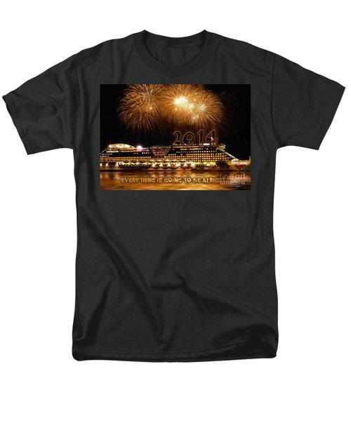 Men's T-Shirt  (Regular Fit) featuring the photograph Aida Cruise Ship 2014 New Year's Day New Year's Eve by Paul Fearn