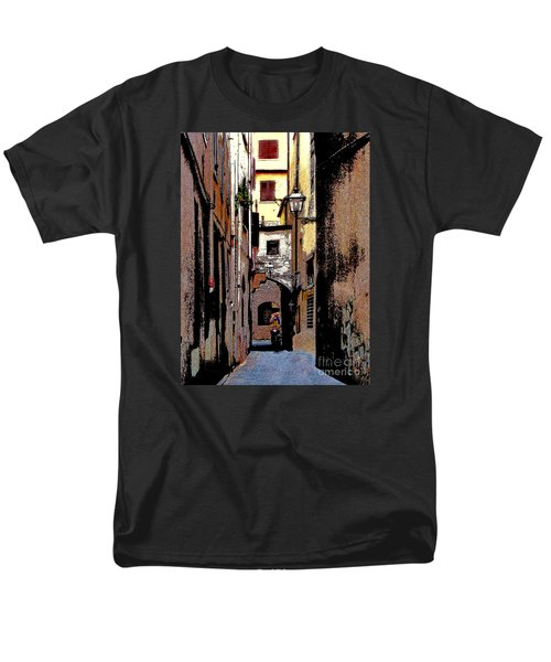 Men's T-Shirt  (Regular Fit) featuring the digital art Alley In Florence 2 Digitized by Jennie Breeze