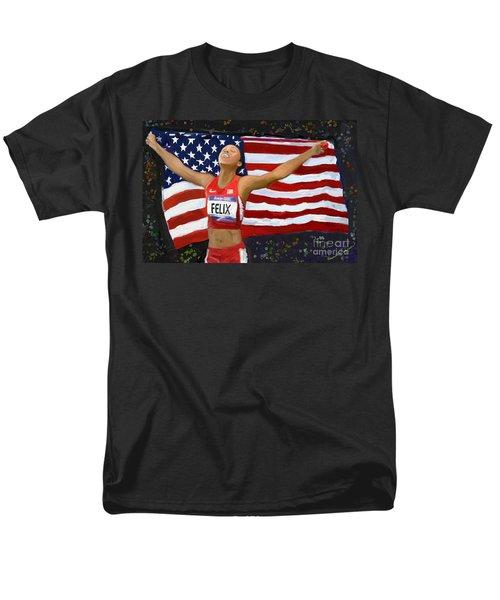 Men's T-Shirt  (Regular Fit) featuring the digital art Allison Felix Olympian Gold Metalist by Vannetta Ferguson