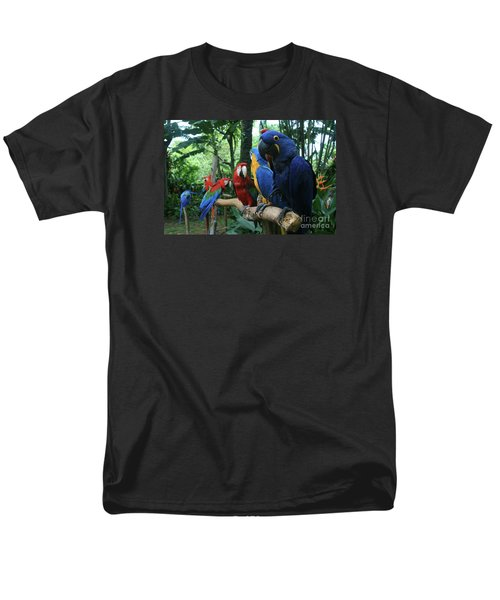 Aloha Kaua Aloha Mai No Aloha Aku Beautiful Macaw Men's T-Shirt  (Regular Fit) by Sharon Mau