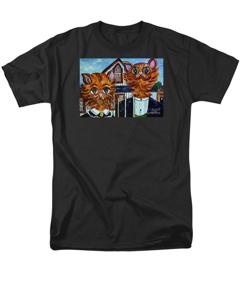 Men's T-Shirt  (Regular Fit) featuring the painting American Gothic Cats - A Parody by Eloise Schneider