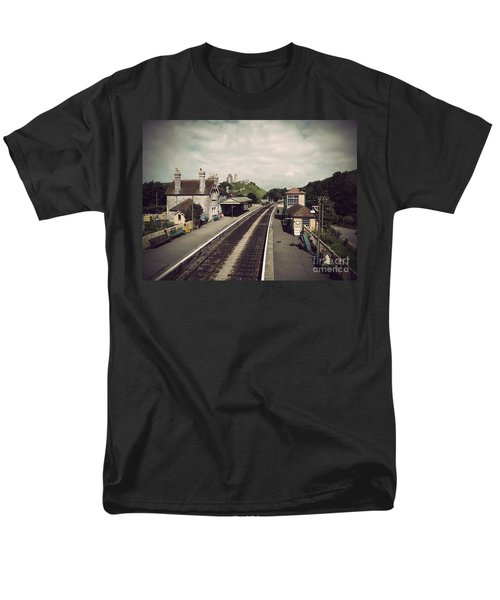 Men's T-Shirt  (Regular Fit) featuring the photograph Antique Corfe Castle by Linsey Williams