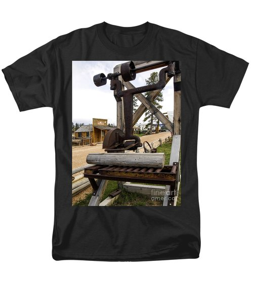 Men's T-Shirt  (Regular Fit) featuring the photograph Antique Table Saw Tool Wood Cutting Machine by Paul Fearn