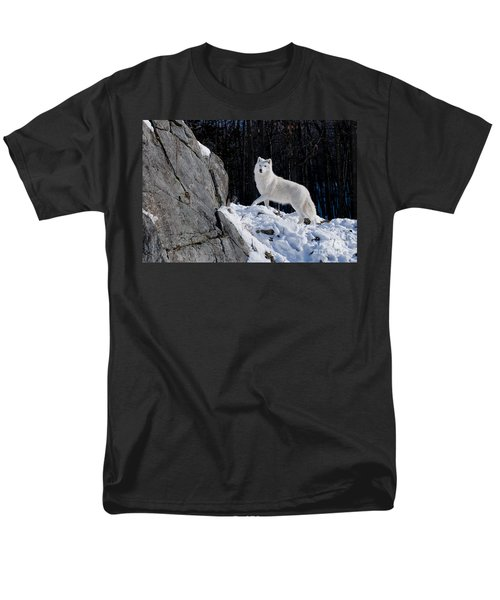 Men's T-Shirt  (Regular Fit) featuring the photograph Arctic Wolf On Rock Cliff by Wolves Only