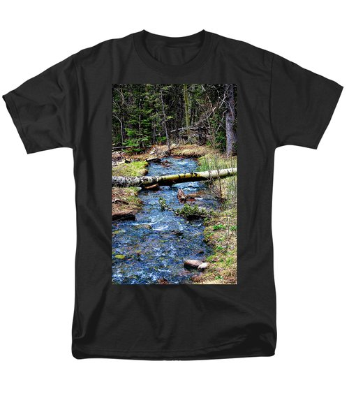 Men's T-Shirt  (Regular Fit) featuring the photograph Aspen Crossing Mountain Stream by Barbara Chichester