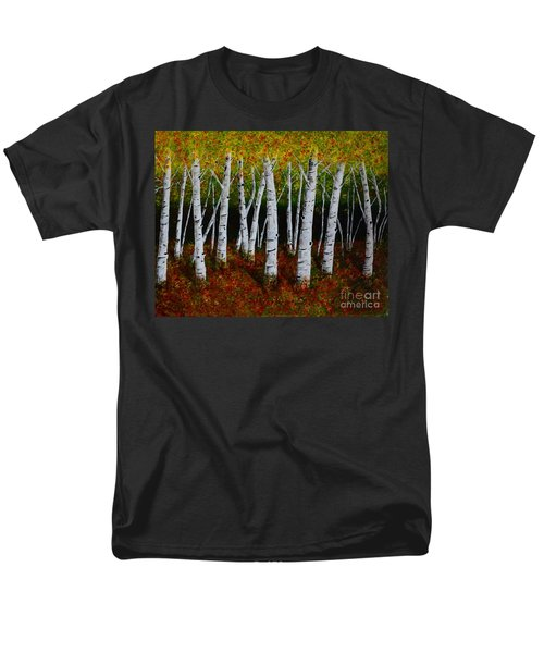 Men's T-Shirt  (Regular Fit) featuring the painting Aspens In Fall 2 by Melvin Turner