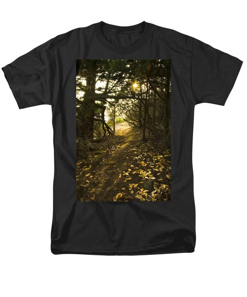 Men's T-Shirt  (Regular Fit) featuring the photograph Autumn Trail In Woods by Yulia Kazansky