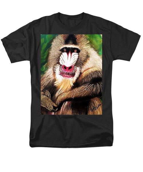 Baboon Stare Men's T-Shirt  (Regular Fit) by Renee Michelle Wenker