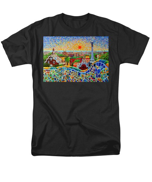 Barcelona View At Sunrise - Park Guell  Of Gaudi Men's T-Shirt  (Regular Fit) by Ana Maria Edulescu