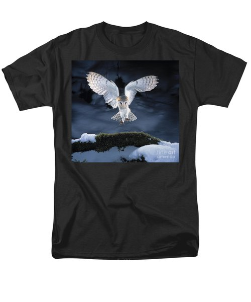 Barn Owl Landing Men's T-Shirt  (Regular Fit) by Manfred Danegger