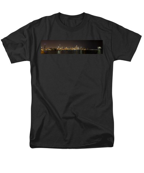 Beautiful Chicago Skyline With Fireworks Men's T-Shirt  (Regular Fit) by Adam Romanowicz