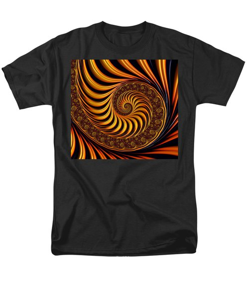 Beautiful Golden Fractal Spiral Artwork  Men's T-Shirt  (Regular Fit) by Matthias Hauser