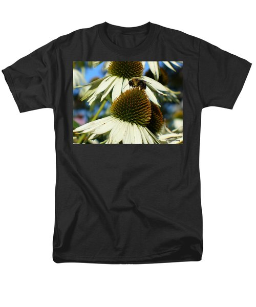 Men's T-Shirt  (Regular Fit) featuring the photograph Bee On A Cone Flower by Lingfai Leung