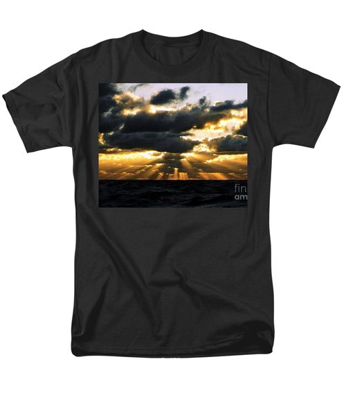 Crepuscular Biblical Rays At Dusk In The Gulf Of Mexico Men's T-Shirt  (Regular Fit) by Michael Hoard