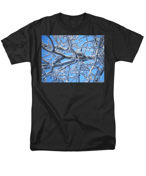 Bifurcations In White And Blue Men's T-Shirt  (Regular Fit) by Brian Boyle