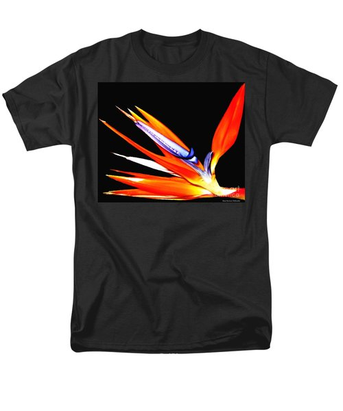 Men's T-Shirt  (Regular Fit) featuring the photograph Bird Of Paradise Flower With Oil Painting Effect by Rose Santuci-Sofranko
