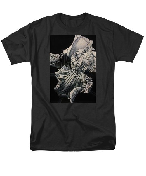 Men's T-Shirt  (Regular Fit) featuring the drawing Black And White Iris Study by Bruce Bley