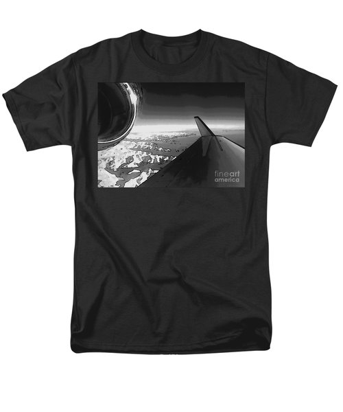 Men's T-Shirt  (Regular Fit) featuring the photograph Jet Pop Art Plane Black And White  by R Muirhead Art