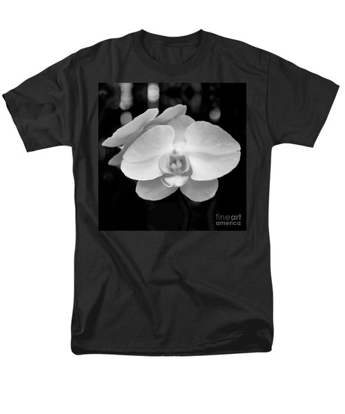 Black And White Orchid With Lights - Square Men's T-Shirt  (Regular Fit) by Heather Kirk