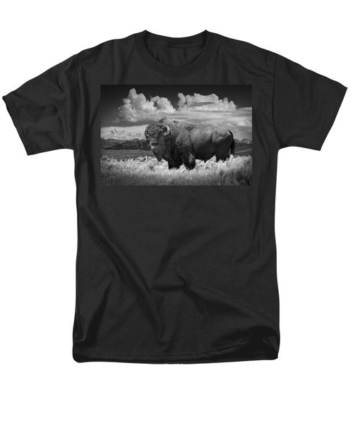 Black And White Photograph Of An American Buffalo Men's T-Shirt  (Regular Fit) by Randall Nyhof