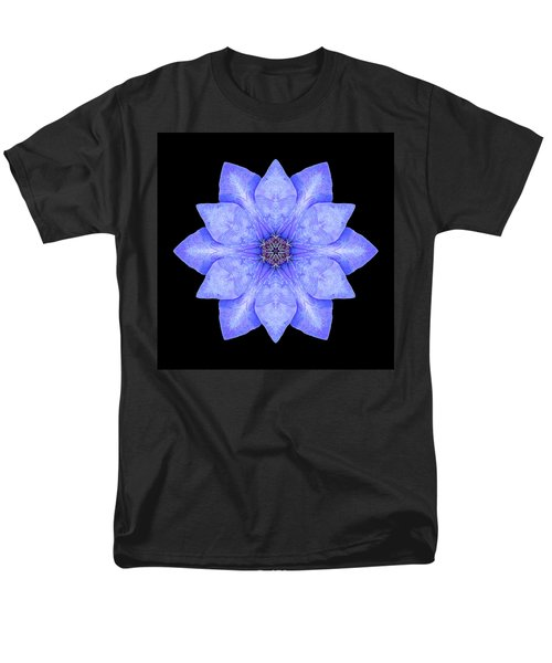 Blue Clematis Flower Mandala Men's T-Shirt  (Regular Fit)