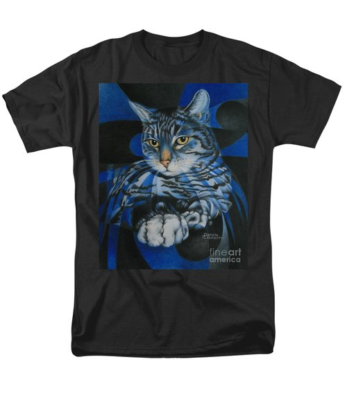 Men's T-Shirt  (Regular Fit) featuring the painting Blue Feline Geometry by Pamela Clements