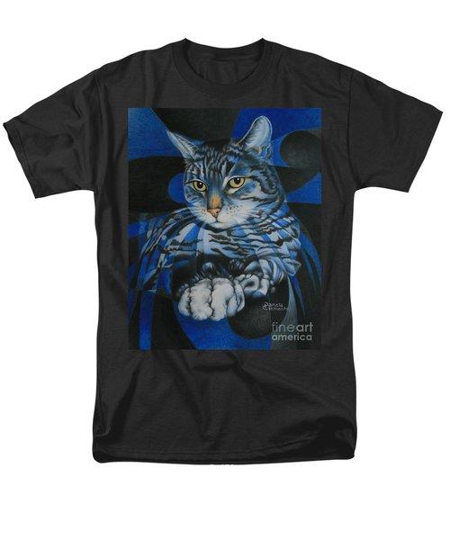 Blue Feline Geometry Men's T-Shirt  (Regular Fit)