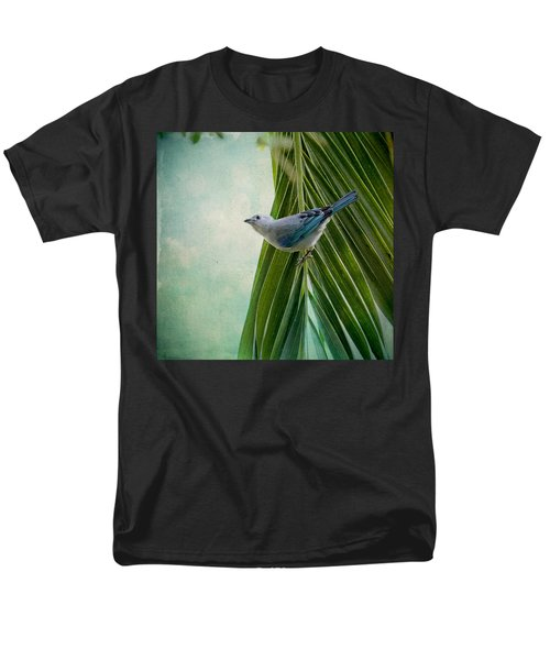 Blue Grey Tanager On A Palm Tree Men's T-Shirt  (Regular Fit) by Peggy Collins
