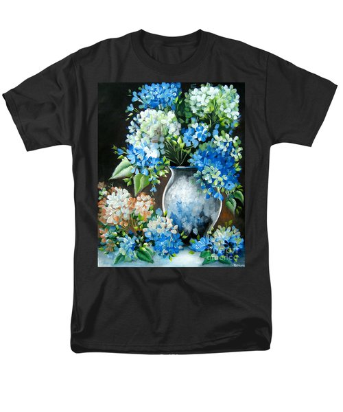Men's T-Shirt  (Regular Fit) featuring the painting Blue Hydrangeas by Patrice Torrillo