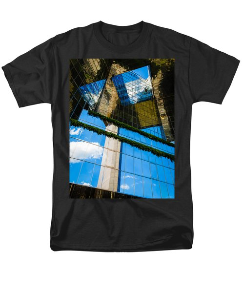 Men's T-Shirt  (Regular Fit) featuring the photograph Blue Sky Reflections On A London Skyscraper by Peta Thames