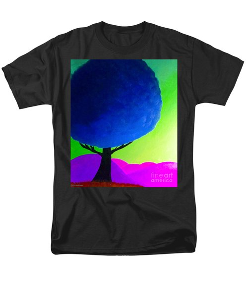 Men's T-Shirt  (Regular Fit) featuring the painting Blue Tree by Anita Lewis