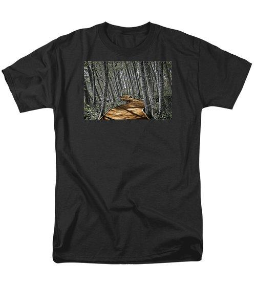 Men's T-Shirt  (Regular Fit) featuring the digital art Boardwalk In The Woods by Richard Farrington