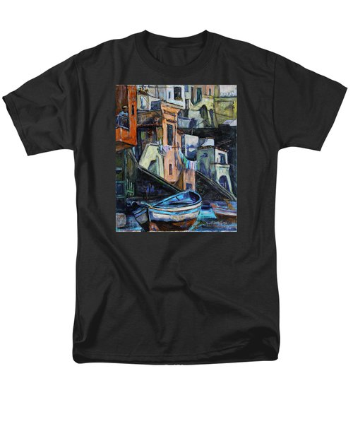 Men's T-Shirt  (Regular Fit) featuring the painting Boats In Front Of The Buildings I  by Xueling Zou