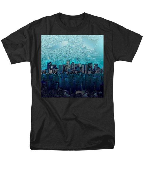 Boston Skyline Abstract Blue Men's T-Shirt  (Regular Fit) by Bekim Art