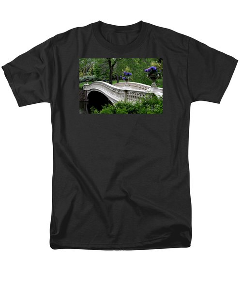 Bow Bridge Flower Pots - Central Park N Y C Men's T-Shirt  (Regular Fit) by Christiane Schulze Art And Photography