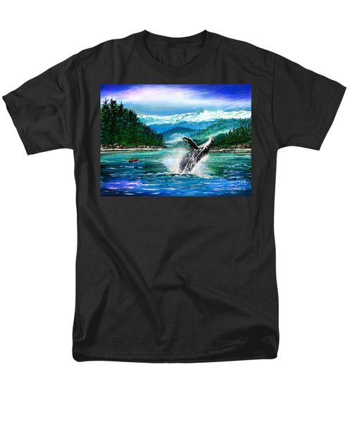 Men's T-Shirt  (Regular Fit) featuring the painting Breaching Humpback Whale by Patricia L Davidson