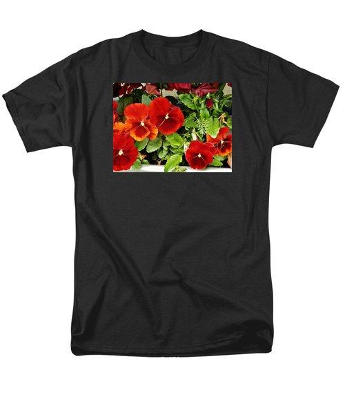 Men's T-Shirt  (Regular Fit) featuring the photograph Brick Pansies by VLee Watson