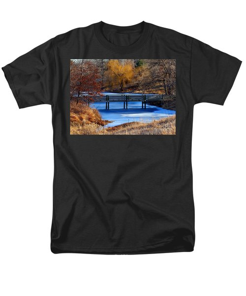 Men's T-Shirt  (Regular Fit) featuring the photograph Bridge Over Icy Waters by Elizabeth Winter