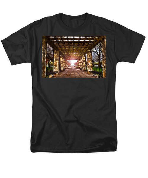 Men's T-Shirt  (Regular Fit) featuring the photograph Bridge To The Light From The Series The Imprint Of Man In Nature by Verana Stark