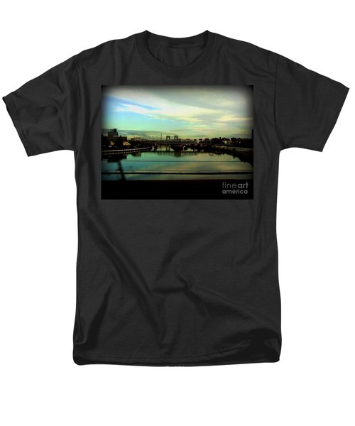 Men's T-Shirt  (Regular Fit) featuring the photograph Bridge With White Clouds by Miriam Danar