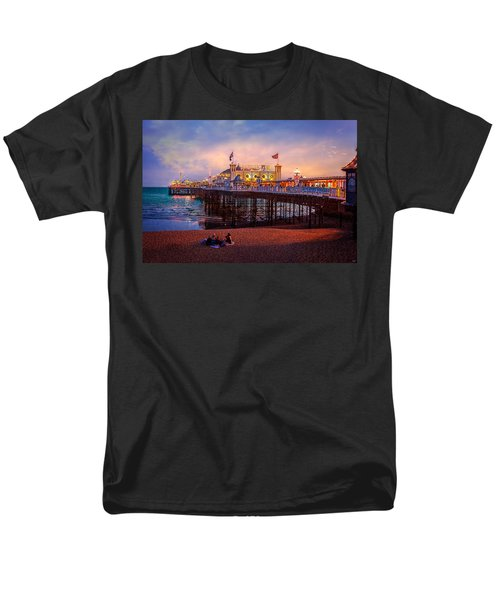 Men's T-Shirt  (Regular Fit) featuring the photograph Brighton's Palace Pier At Dusk by Chris Lord