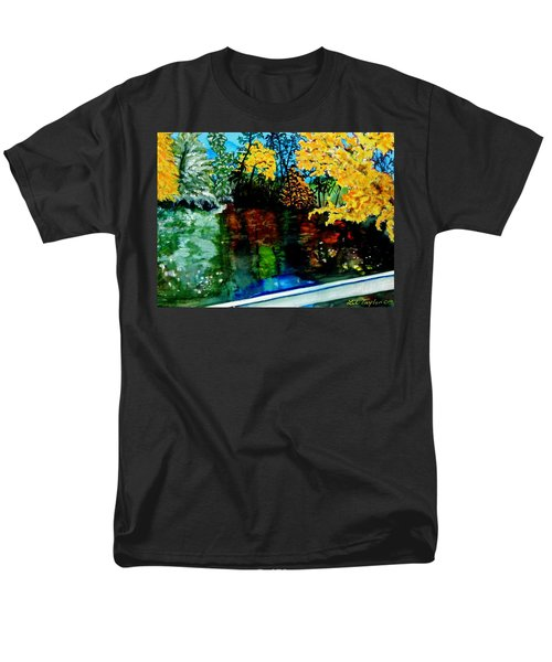 Men's T-Shirt  (Regular Fit) featuring the painting Brilliant Mountain Colors In Reflection by Lil Taylor