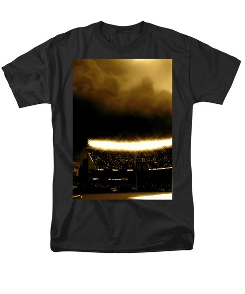 Men's T-Shirt  (Regular Fit) featuring the tapestry - textile Bronx Storm Yankee Stadium  by Iconic Images Art Gallery David Pucciarelli