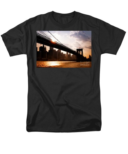 Brooklyn Bridge And Skyline Manhattan New York City Men's T-Shirt  (Regular Fit) by Sabine Jacobs
