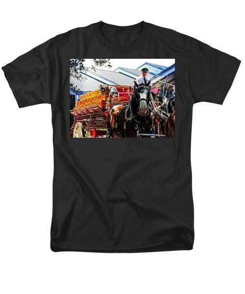 Men's T-Shirt  (Regular Fit) featuring the photograph Budweiser Beer Wagon by Mike Martin